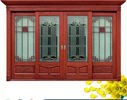 चीन Red  Carve patterns solid Wooden Automatic telescoping sliding doors फैक्टरी
